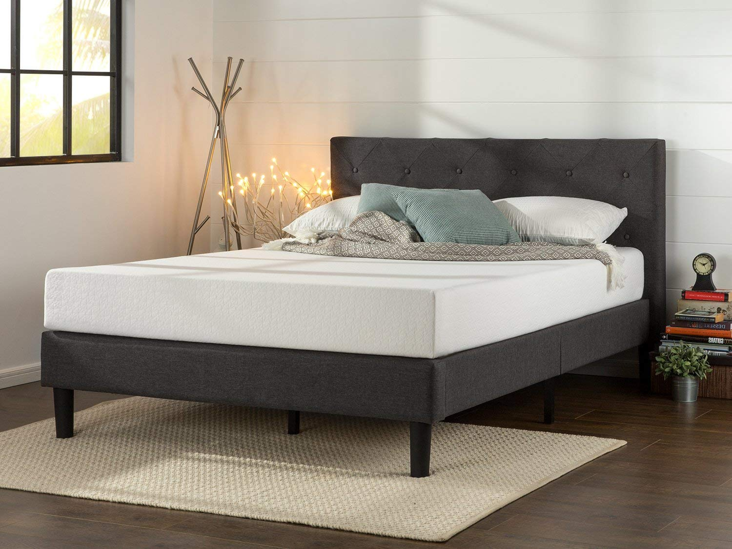 Diamond Stitched Platform Bed
