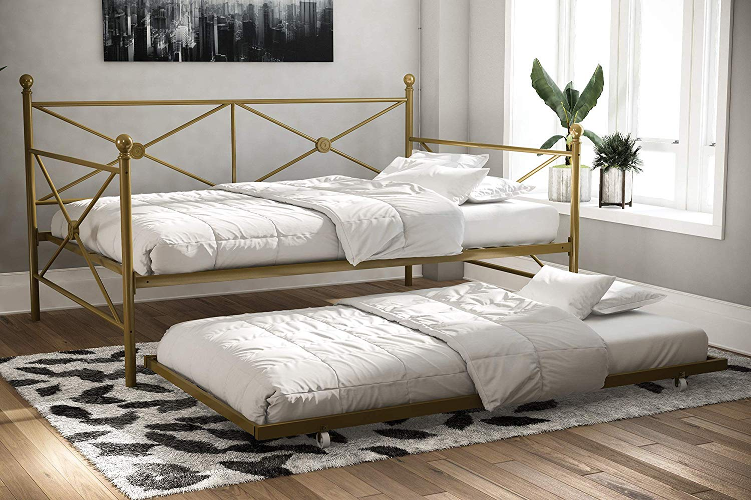 Full and Twin Size Metal Daybed W/ Trundle Frame Set
